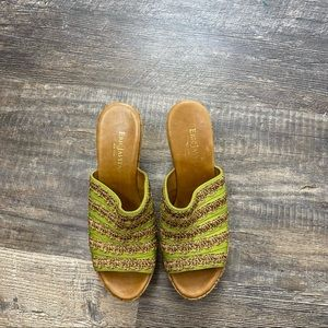 Eric Javits Green Platform Wedges Sandals Size 7.5
